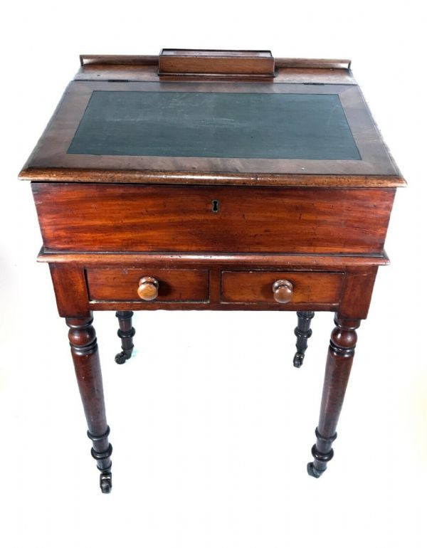 Late Victorian Mahogany Wooden Clerks Desk / Table Antique Industrial Furniture